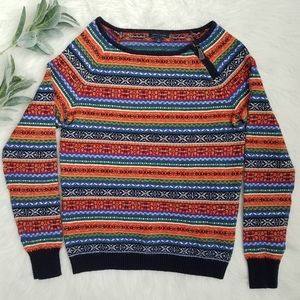 TOMMY HILFIGER Brightly Striped Fair Isle Sweater